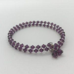 SOLD Tanzanite Swarovski Crystal Bangle Bracelet